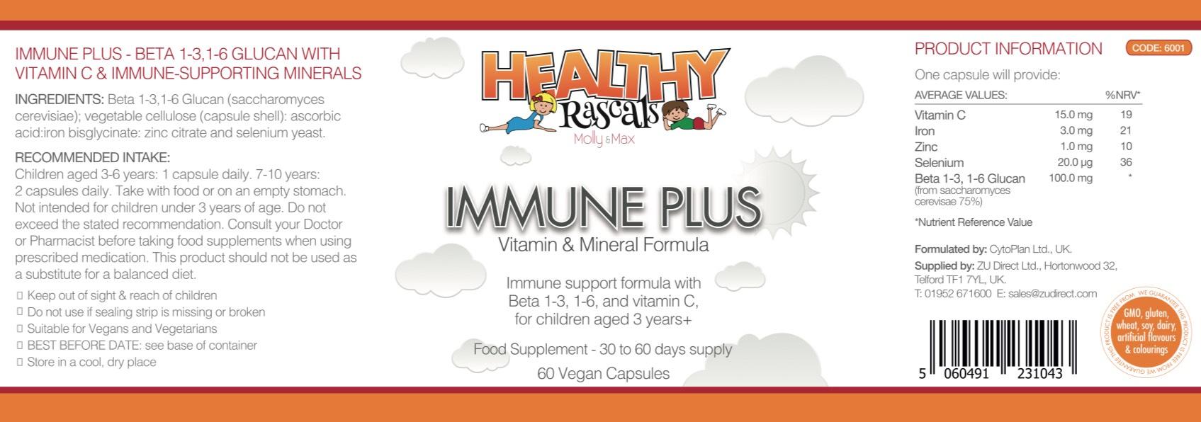 Healthy Rascals - Immune Plus - Label