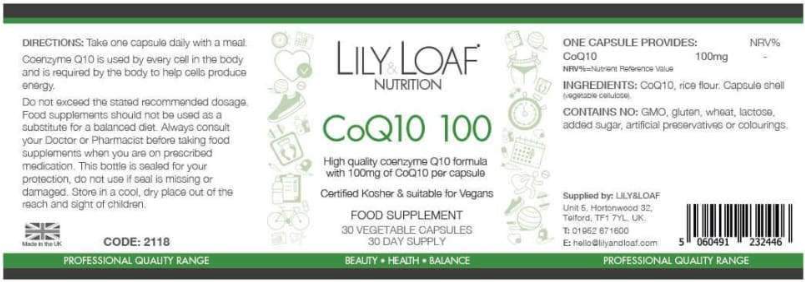 Lily & Load CoQ10 100mg - Label