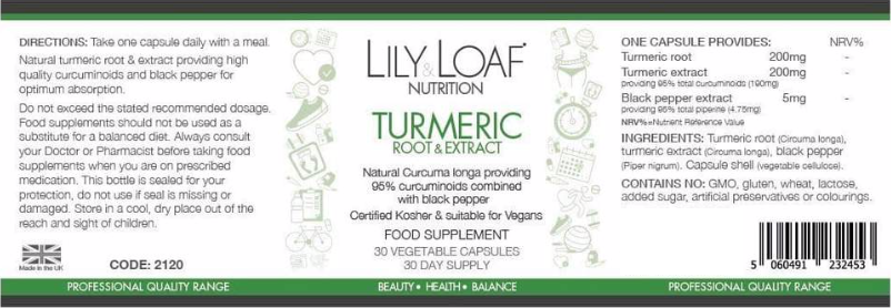 Lily &  Loaf - Turmeric - Root - Extract - Label