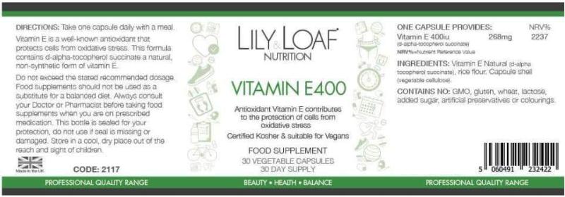 Lily & Loaf - Vitamin E 400iu - Label