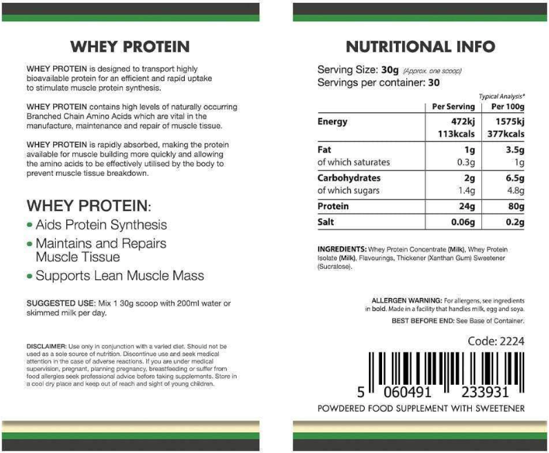 Lily & Loaf Whey Protein - Label