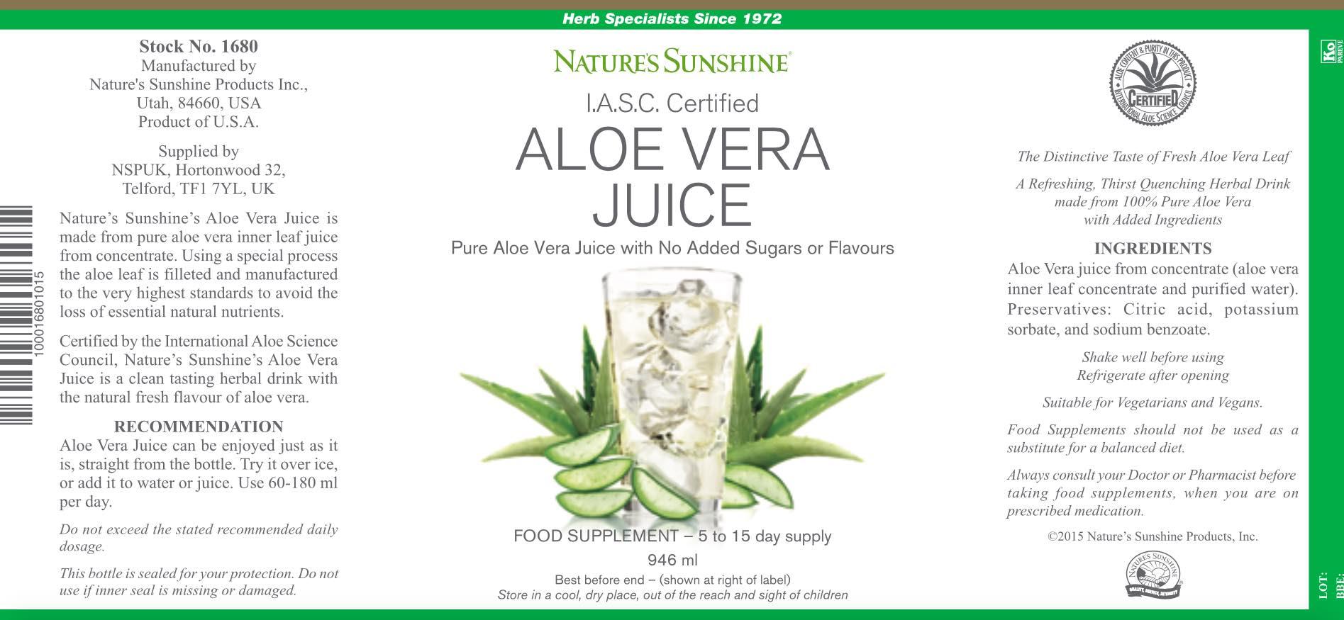 Nature's Sunshine Aloe Vera Juice (946ml) - Label