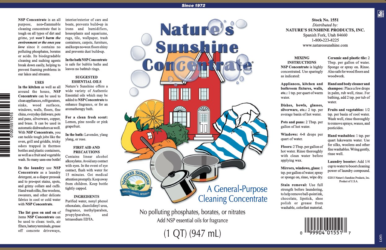 Nature's Sunshine Concentrate - Label