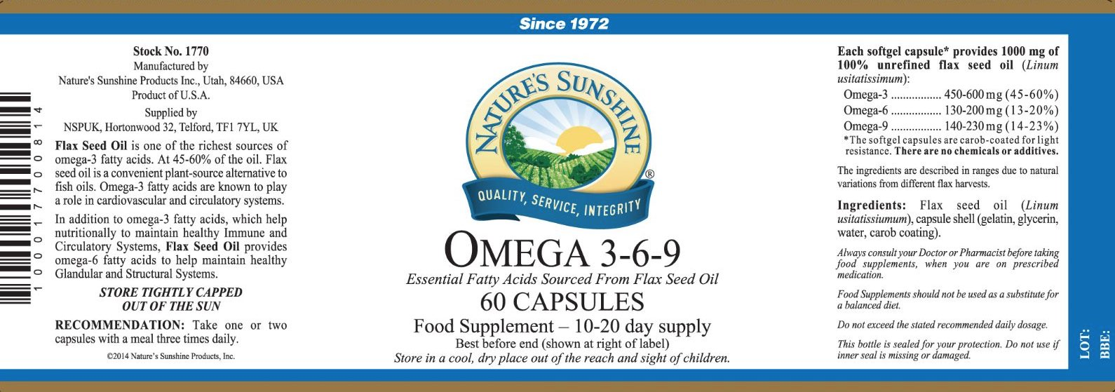 Nature's Sunshine - Omega 3-6-9 Flax Seed Oil - Label
