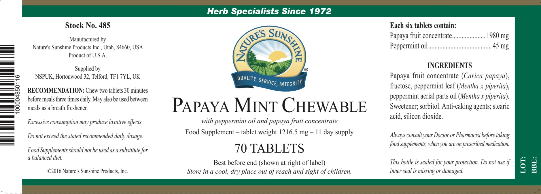 Nature's Sunshine Papaya Mint Chewable - Label