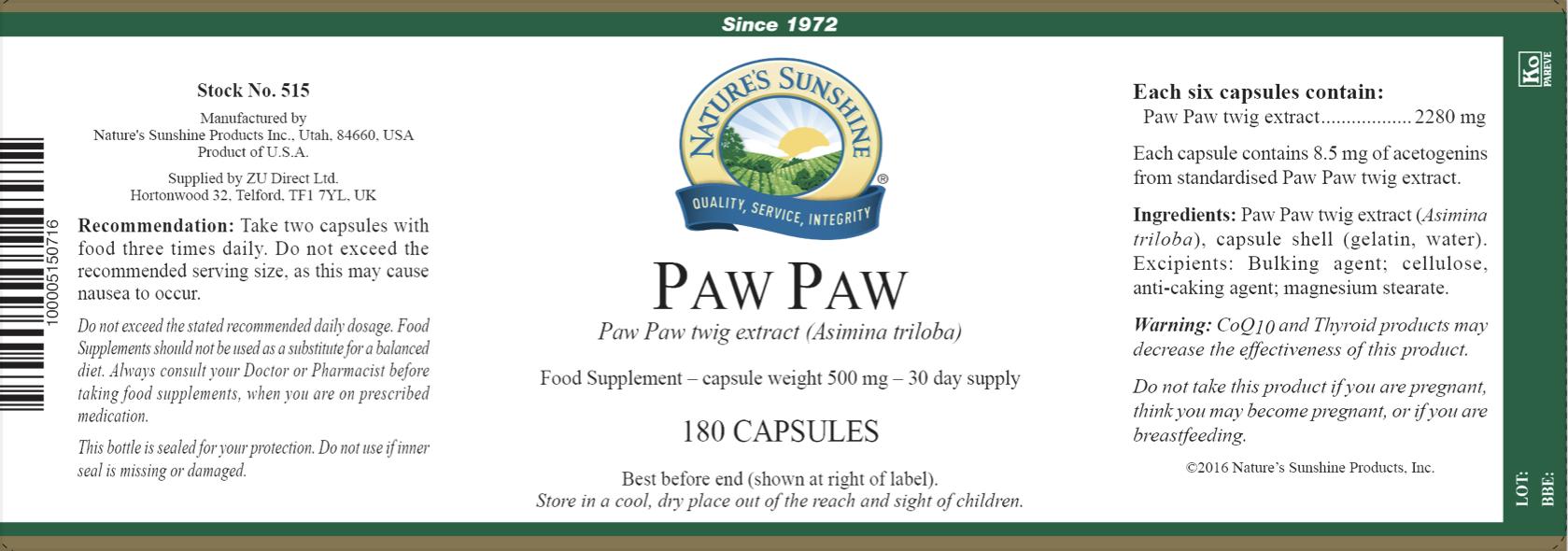 Nature's Sunshine - Paw Paw - Label