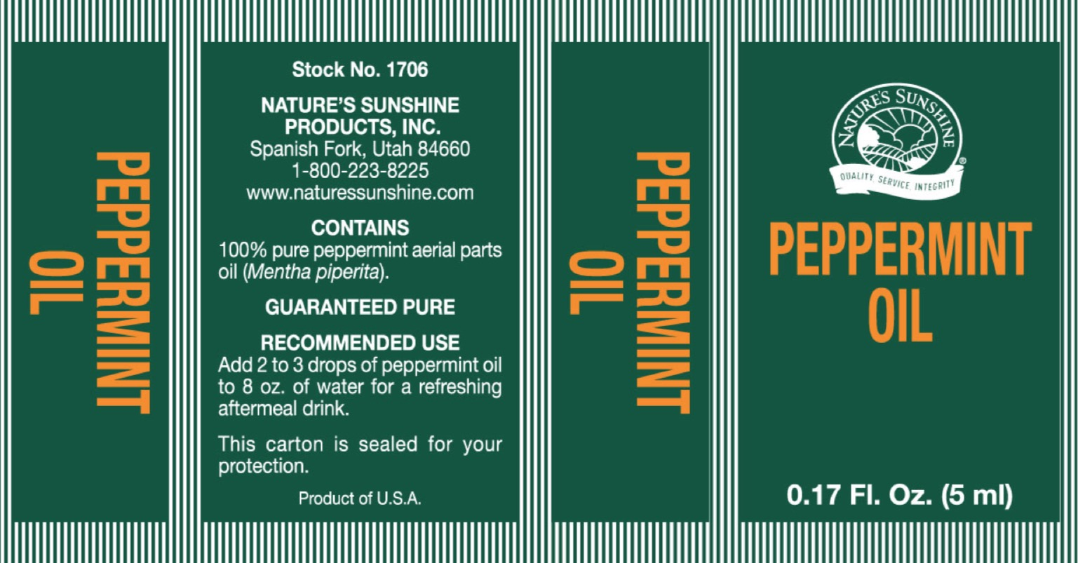 Nature's Sunshine Peppermint Oil - Label