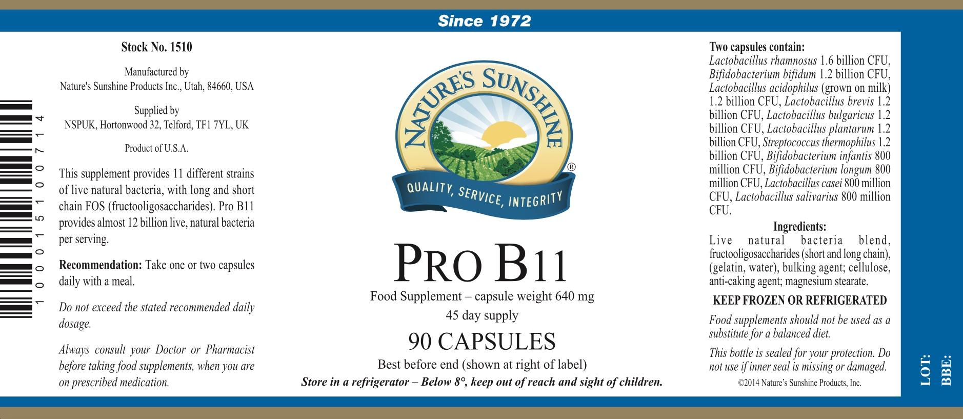 Nature's Sunshine Pro B11 - Label