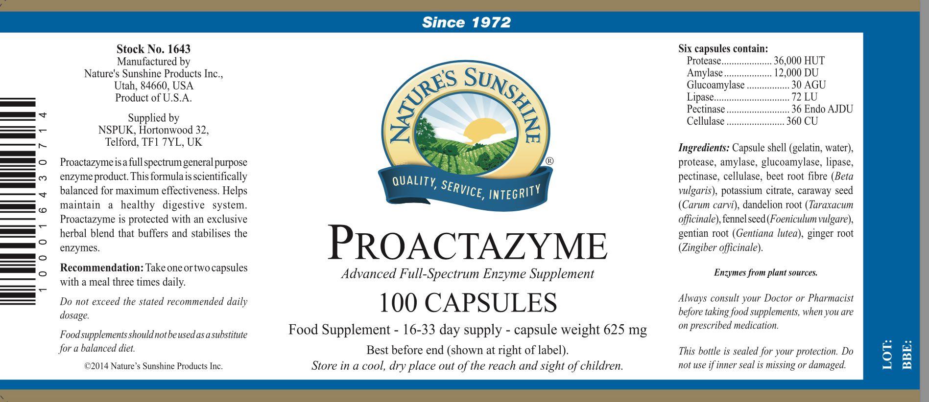 Nature's Sunshine - Proactazyme - Label
