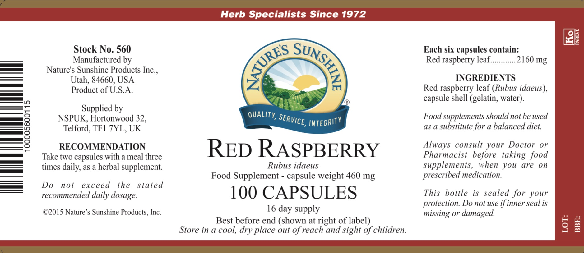 Nature's Sunshine - Red Raspberry - Label