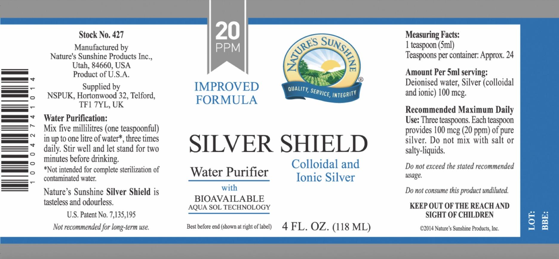 Nature's Sunshine - Silver Shield Liquid - Label