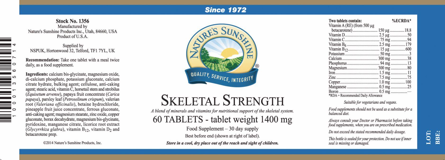 Nature's Sunshine - Skeletal Strength - Label