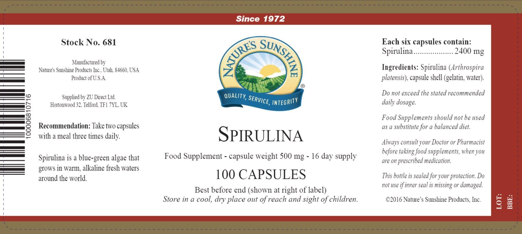 Nature's Sunshine - Spirulina - Label