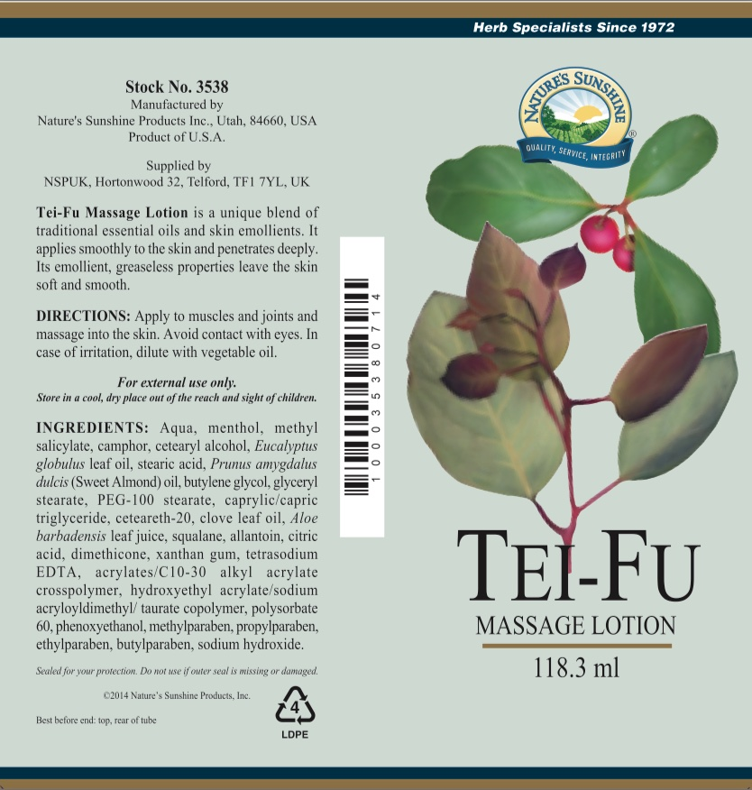 Nature's Sunshine - Tei Fu Massage Lotion - Label
