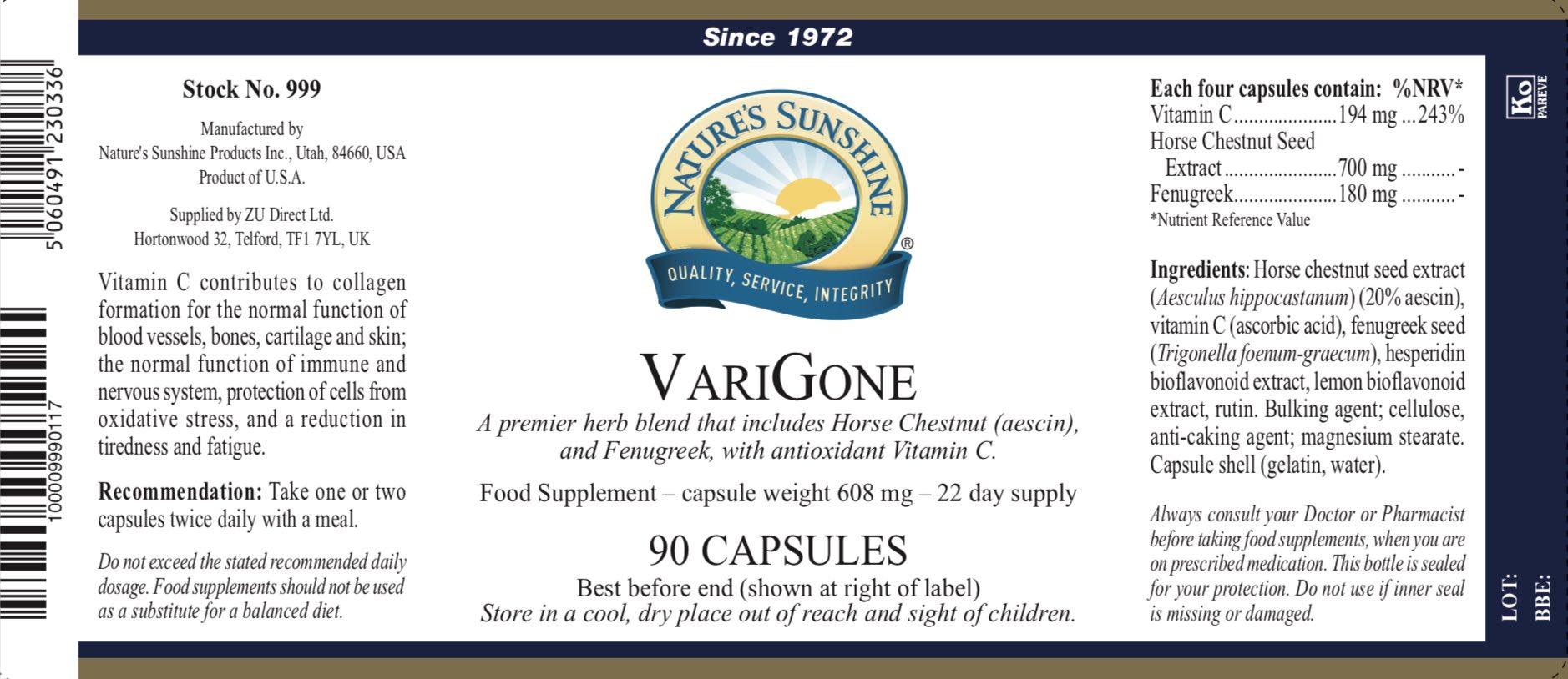 Nature's Sunshine - VariGone - Label