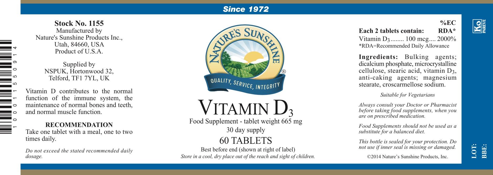 Nature's Sunshine Vitamin D3 Label