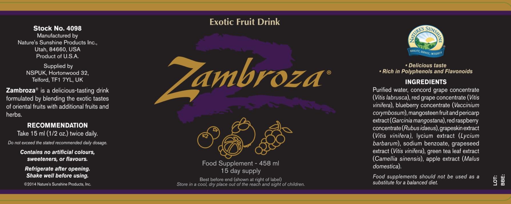 Nature's Sunshine - Zambroza - Label