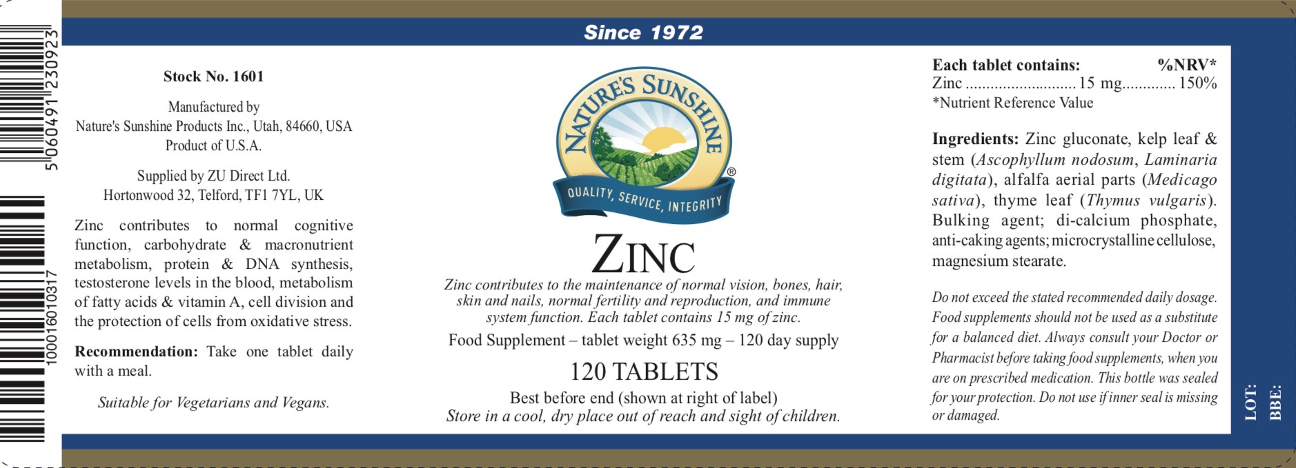 Nature's Sunshine - Zinc - Label