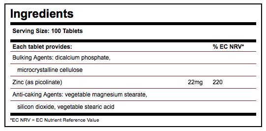 Solgar Zinc Picolinate 22mg Tablets - Label