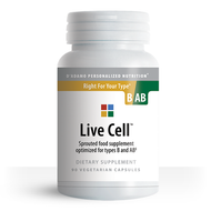 Live Cell B-AB - Sprouted Greens for Blood Types B and AB (90 Vegetarian Capsules) - Container