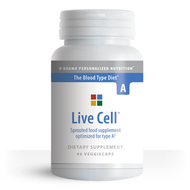 Live Cell A - Sprouted Greens for Blood Type A (90 Vegetarian Capsules) - Container
