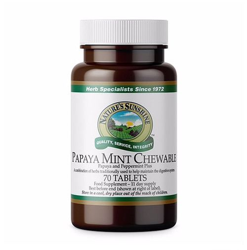 Nature's Sunshine - Papaya Mint Chewable - (70 Tablets) - Bottle