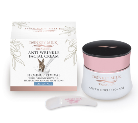 Donkey Milk Treasures - Anti Wrinkle Face Cream with Organic Olive Oil (50ml)