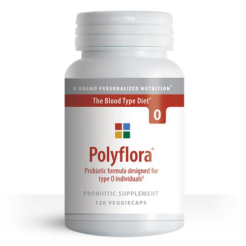 Polyflora O - Pre/Probiotic for Blood Type O (120 Vegetarian Capsules) - Container