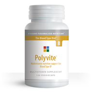 Polyvite B - Multi-vitamin for Blood Type B (120 Vegetarian Capsules) - Container