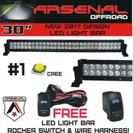 "No.1 30"" Arsenal Offroad LED Light Bar New 2019 Design Flood/Spot Combo Beam CREE 3w LED's 168w 18,000 Lumen Design for Xtreme Offroading, FREE LED Light Rocker Switch Kit Harness"