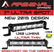 "#1 7"" Arsenal Offroad Ultra Slim 1"" thick Real Cree LED's 30 Degree Super Spot LED Light Bar, 18w 1,260 Lumen, Off Road, Polaris RZR, UTV, Trucks, Raptor, Jeep, Bumper Rock, Rock Light"