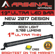 "#1 19"" Arsenal Offroad Ultra Slim 1"" Thick Real Cree LED's 30/60 Degree Super Combo LED Light Bar, 54w 5,700 Lumen, Off Road, Polaris RZR, UTV, Trucks, Raptor, Jeep, Bumper Rock, Rock Light"