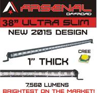"#1 38"" Arsenal Offroad Ultra Slim 1"" Thick Real Cree LED's 60/30 Degree Super Spot Flood Combo LED Light Bar, 108w 7,560 Lumen, Off Road, Polaris RZR, UTV, Trucks, Raptor, Jeep, Bumper Rock, Rock Light"