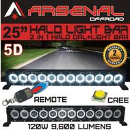 "25"" 5D HALO LED Light Bar by Arsenal Offroad HALO DRL / Super Spot-CREE 10W LED's 180w 9,600 Lumen, Off Road, Polaris RZR UTV Trucks Raptor Jeep Bumper Rock FREE Wireless Remote Control Wire Harness"