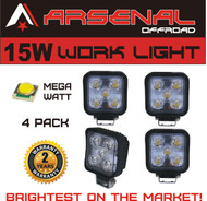 #1 15W Square LED Work Light Lamp by Arsenal OffroadTM (4 PACK) Off Road High Power ATV Jeep Wrangler 4x4 Rv Trailer Boat Tractor Truck Excavator Fork Lift Camping Fishing Boat Yacht Road Lamp Tractor