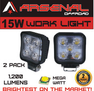 #1 15W Square LED Work Light Lamp by Arsenal OffroadTM (2 PACK) Off Road High Power ATV Jeep Wrangler 4x4 Rv Trailer Boat Tractor Truck Excavator Fork Lift Camping Fishing Boat Yacht Road Lamp Tractor