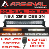 "#1 22"" Dual Color Amber/White Wireless Remote Control LED light bar by Arsenal Offroad Dual Color LED's 120w"