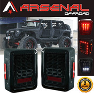 Jeep Wrangler LED Tail Lights 2017 Design Smoke Lens LED Tail Lights with Red LED Brake Tail Lights Assembly with Rear Turn Signal Reverse Lights For JK JKU 2007-2016