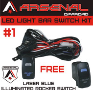 Arsenal Offroad TM 40 Amp Relay 30Amp Fuse Laser Blue LED LIGHT BAR SPST ON/ OFF Rocker Switch Wiring Harness Kits great for UTV SUV Off-Road Boats Jeeps RZR Driving Fog Light Rock and Bumper Light LED Light Bars
