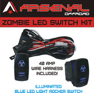 ZOMBIE Rocker Switch Kit by Arsenal Offroad TM 40 Amp Relay 30Amp Fuse Laser Blue LED SPST ON/ OFF Rocker Switch Wiring Harness Kits great for UTV SUV Off-Road Boats Jeeps RZR Driving Fog Light Rock and Bumper Light LED Light Bars, Etc