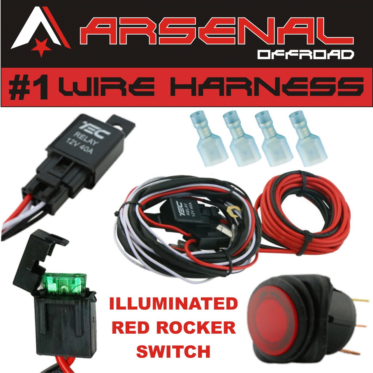 ARSENAL_NEW_WIRE_HARNESS__76387.1468350359.1280.1280?c=2 1 40 amp universal wiring harness comes with 40 relay, illuminated on off rocker switch for offroad led light bars and work lights, jeep, atv, utv,