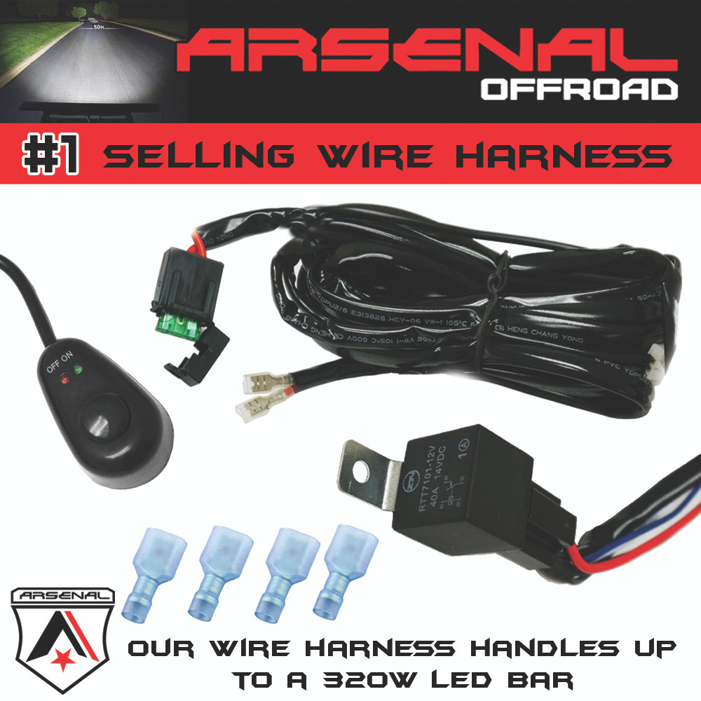 1 40 Amp Universal Wiring Harness Comes With Relay Illuminated Led Light Bar Also Image