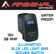 Laser Blue LED Light Bar Rocker Switch by Arsenal Offroad 20 Amp Illuminated Laser Blue LED's SPST, 4X4 Jeep Polaris RZR Rapator Trucks RV UTV Powersports