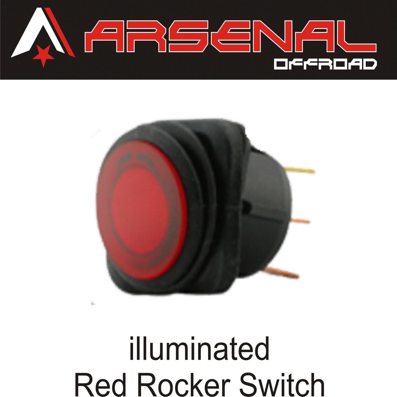 Arsenal Offroad 20 Amp Round Red LED Rocker Switch Kit 4X4 Jeep Polaris RZR  Rapator Trucks RV UTV Powersports