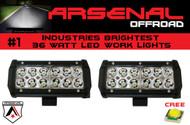 "#1 2x 7"" 36W Arsenal Offroad LED Light Bar 6"" of LED's Super Spot Beam-3w LED's 36w 3,600 Lumen, Off Road, Polaris RZR, UTV, Trucks, Raptor, Jeep, Bumper Rock"