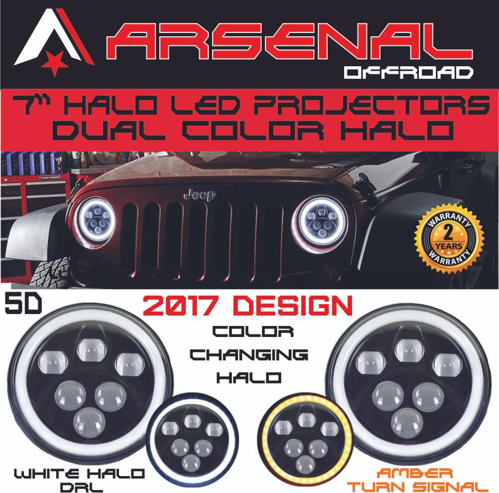 "7/"" Round CREE LED Headlight Halo Ring Angel Eyes DRL Light for Harley Davidson"