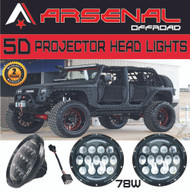 "2017 Design 2x 7"" 78W 5D LED Projector Head Lamps with DRL for Jeep Wrangler JK CJ LJ Hummer H1 H2 Harley Davidson"