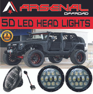 "#1 2x 7"" 75W 5D LED Projector Head Lamps with DRL for Jeep Wrangler JK CJ LJ Hummer H1 H2 Harley Davidson"