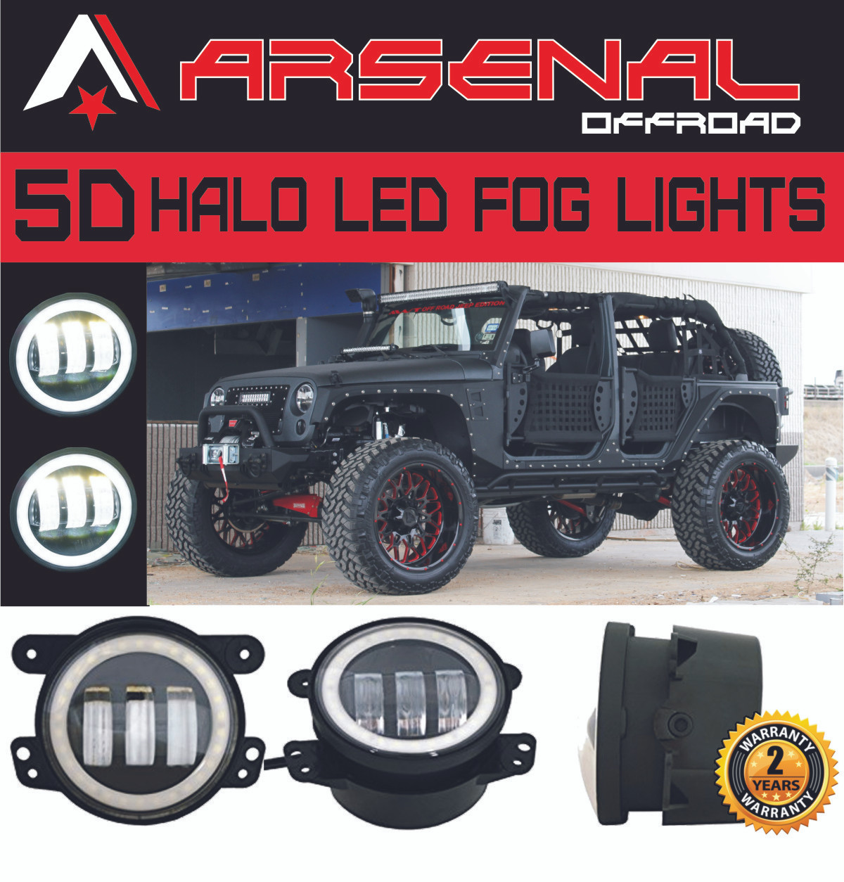 "4/"" Inch LED Fog Lights W// Halo Ring Angel Eyes DRL For Jeep Wrangler JK TJ LJ"