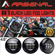 #1 4.5 Inch 5D 30W Black LED Projector Auxilary Fog Lights Super Bright Motorcycle Passing Fog Lamps For Harley Davidson (2-Pack)
